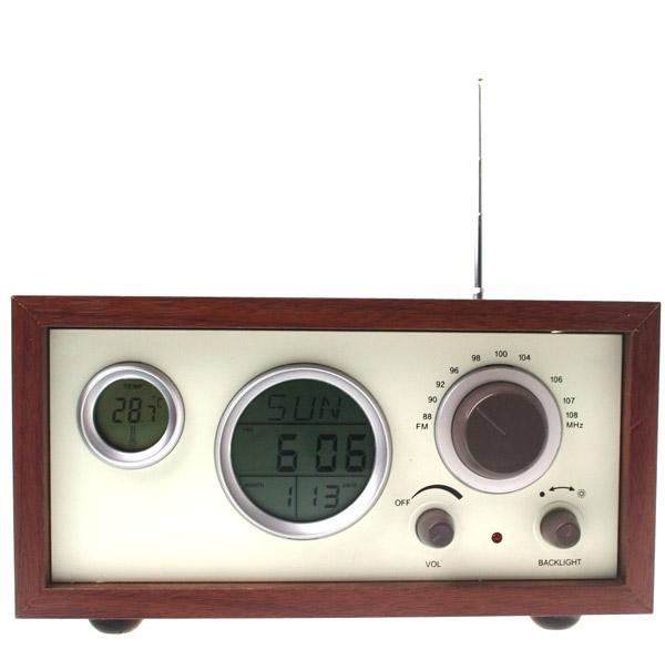 原木古典收音机(小号,带万年历)