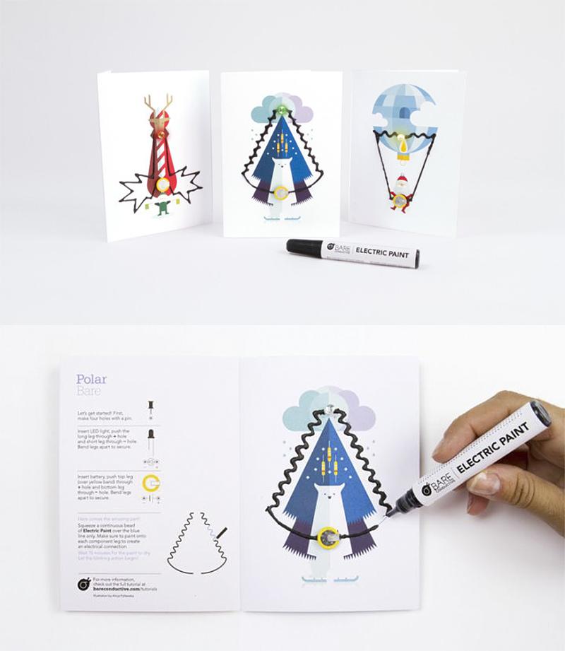 使用方法: 1.在卡片的指示位置装上纽扣电池和LED灯(注意正负极)。 2.用电子涂鸦导电笔在指示的电路涂抹上墨水(注意涂抹均匀不要有中断的地方) 3.十五分钟后,墨水自然风干,LED灯被点亮,一张闪亮的卡片就大功告成了。 电子涂鸦导电墨水的特点: 1.导电的,无毒的,可溶于水的。 2.